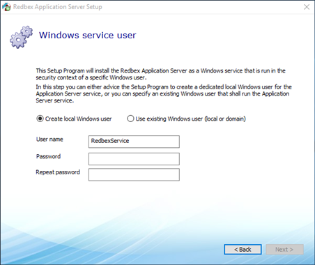 Redbex Reference Manual - Step 5: Windows Service user